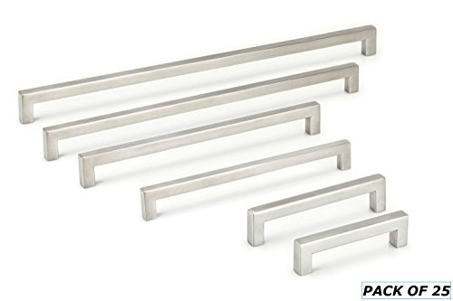 12mm SQUARE BAR PULLS CABINET HANDLES - STAINLESS STEEL 2