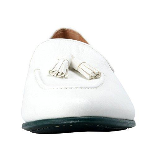 Salvatore Ferragamo Mens Riva Leather Loafers Shoes White omLoUeu