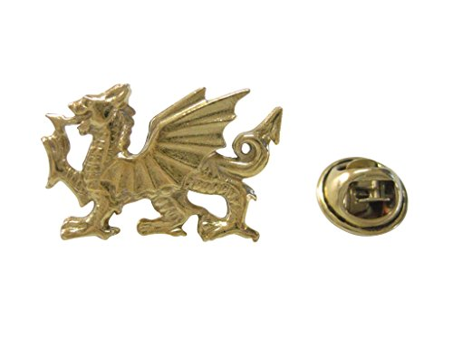 (Kiola Designs Gold Toned Welsh Dragon Lapel Pin)