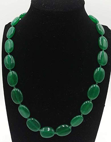 17' Green Jade Necklace - FidgetKute Wholesale 13x18mm Natural Multicolor Jade Gemstone Oval Beads Necklace 17'' Green Jade