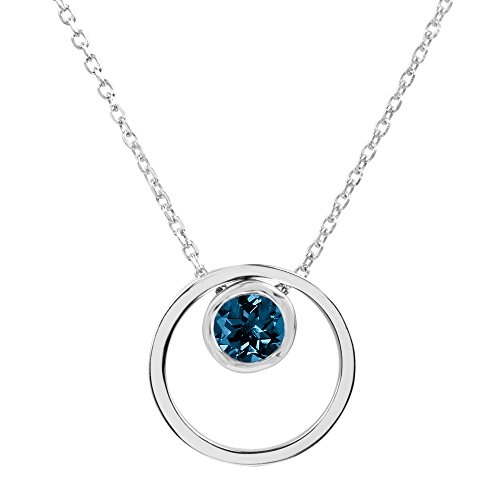 Sterling Silver Round London Blue Topaz Double Circle Pendant - Topaz Circle Pendant