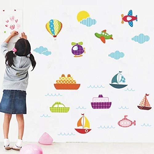 Cartoon Air Balloon Wall Stickers Kids Rooms Vehicles Decals Art Poster Photo Wallpaper Home Decor - Wall Decals]()