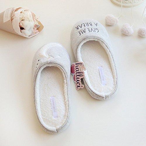 Fortuning's JDS Donne delle signore delle ragazze Accogliente cotone Casa Calzature Grigio asimmetrico confortevole Flatform pantofole