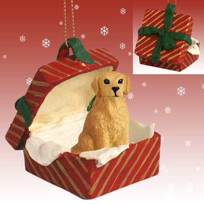 GOLDEN-RETRIEVER-DOG-sits-in-a-Red-Gift-Box-Christmas-Ornament-New-RGBD09