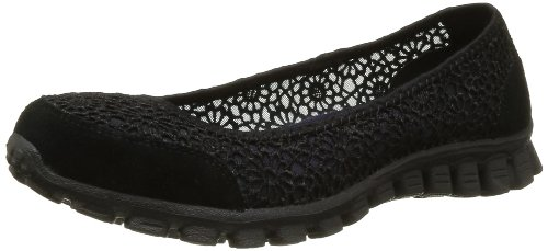 Skechers Sport Women's Sweetpea Slip-On Flat,Black,6 M US