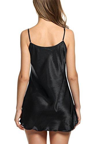 Pintimi Women\'s Pajamas Satin Nightgown Sexy Slip Mini Sleepwear Black XL