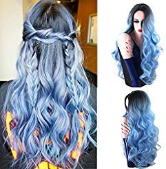 Royalvirgin Nature Color Dark Root Ombre Pastel Blue Heat Resistant Fiber Hair Long Nature Wave Light Blue Synthetic Full Wigs ()