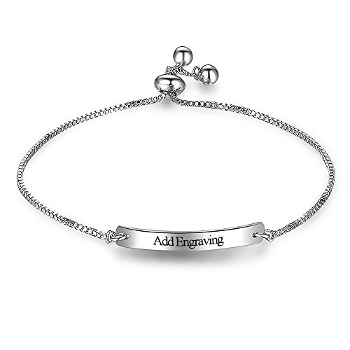 Personalized Kid Bracelets Custom Engrave Name Promise Bracelets & Bangles For Lover's Baby ID Jewelry (White)