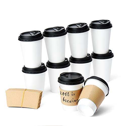 Glotoch 100packs 12ounce Durable White Paper Hot Coffee Cups with Cappuccino Lids and Protective Corrugated Cup Sleeves