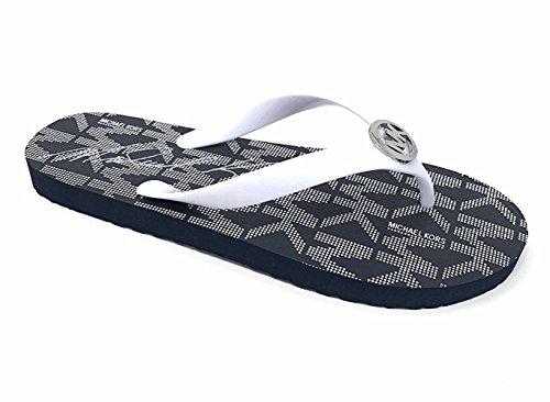 Michael Kors Jet Set PVC Logo Women's Flip Flops, Optic White (8M) (Michael Kors White Sandals)