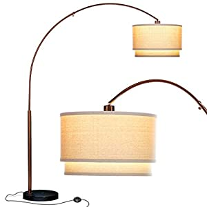 Brightech Mason – Arc Floor Lamp with Unique Hanging Drum Shade – Arching Over the Couch From Behind, This Standing Pole Lamp Lights Up Your Living Room – Alexa & Google Home Compatible – Bronze