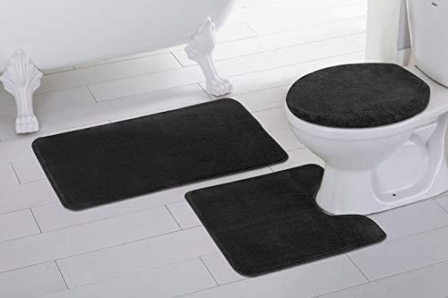 (Mk Home 3pc Absorbent Bath Mat Set Solid Black with Bath Rug, Contour Mat and Toilet Seat Lid Cover Non-Slip Rubber Blacking New)
