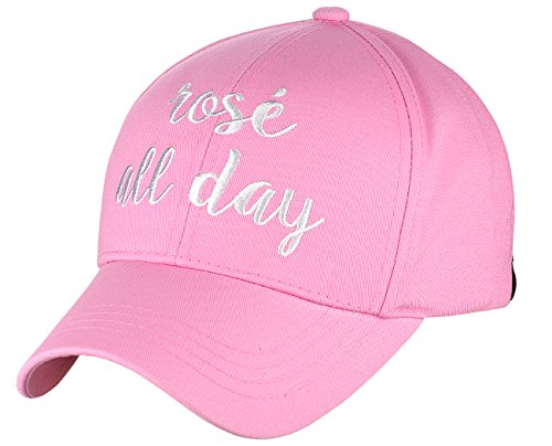 C.C Women's Embroidered Quote Adjustable Cotton Baseball Cap, Rosé All Day, Pink