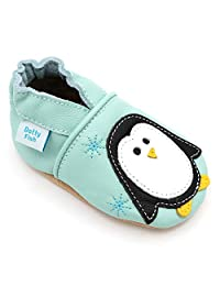 Dotty Fish Soft Leather Baby Shoes with Non Slip Suede Soles. Toddler Shoes. Stars, Animals and Plain Styles for Boys and Girls. Newborn to 4-5 Years