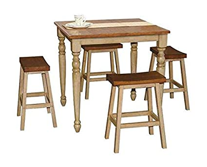 Quails Run 5 Pc Pub Dining Set In Almond And Wheat Finish