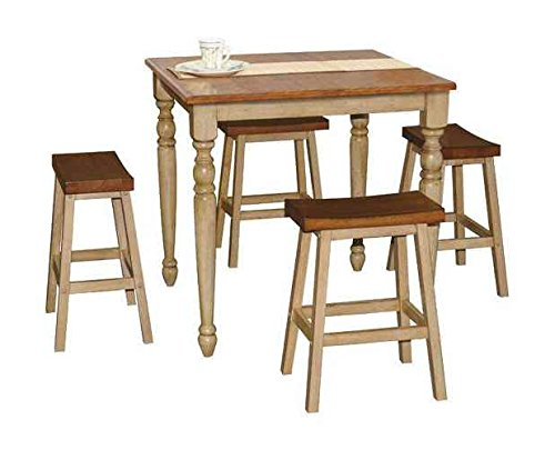 Winners Only, Inc. Quails Run 5-Pc Pub Dining Set in Almond and Wheat Finish - Includes counter Height table and four counter stools Saddle stools Minimal assembly required - kitchen-dining-room-furniture, kitchen-dining-room, dining-sets - 41cojgHZbZL -
