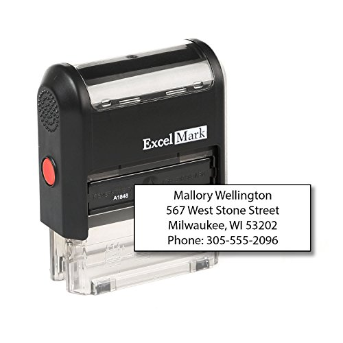 - ExcelMark Custom Self Inking Rubber Stamp - Home or Office (A1848-4 Lines)