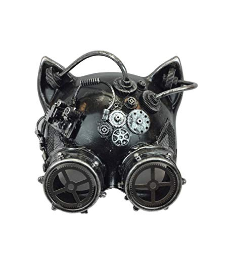KBW Adult Unisex Steampunk Silver Cat Ear Helmet Mask with Goggles, Vintage Victorian Style Retro Punk Rustic Gothic Motorcycle Pilot Aviator Eyewear Headgear Costume Accessories -