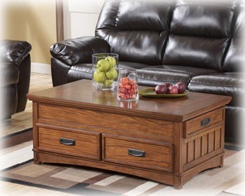 Ashley Furniture Signature Design   Cross Island Coffee Table With Storage    Cocktail Height   Rectangular   Medium Brown Part 81