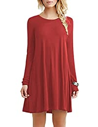 YMING Women's Multicolor Long Sleeve Casual Loose T-Shirt Dress XS-4XL