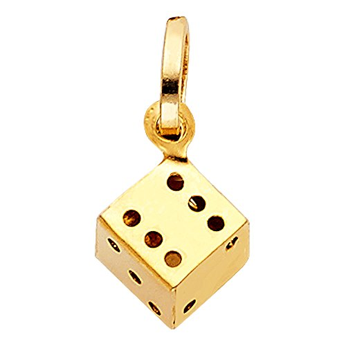Solid 14k Yellow Gold Dice Pendant Cube Good Luck Charm Polished Small Genuine 11 x 10 mm