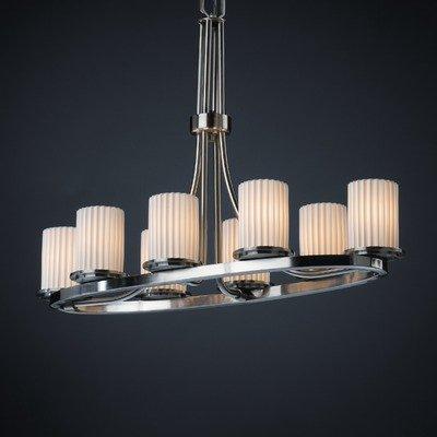- Justice Design POR-8751-10-PLET-DBRZ Limoges - Eight Light Oval Ring Chandelier, Impression Option: Pleats Shade Impression, Choose Finish: Dark Bronze Finish, Choose Lamping Option: Standard Lamping