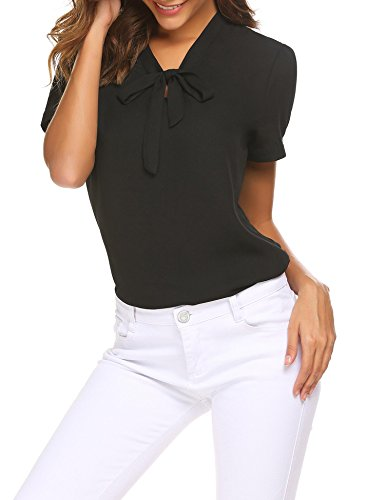 - Instom Women's Bow Tie Neck Short Sleeve Casual Work Solid Chiffon Blouse Tops