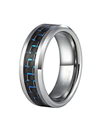 8mm Tungsten rings for Men Blue and Black Carbon Fiber Inlay with Free Ring Box