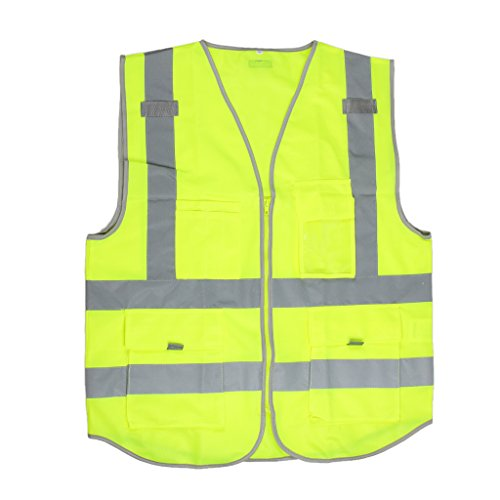 MagiDeal Hi-Vis Safety Vest With Zipper Reflective Tape J...