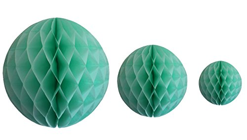 Mint Green Honeycomb Balls, Set of 3 (12 inch, 8 inch, 5 inch)