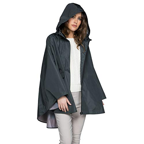 November Rain Waterproof Poncho - Rain Jacket with Hood (Charcoal (Night ()