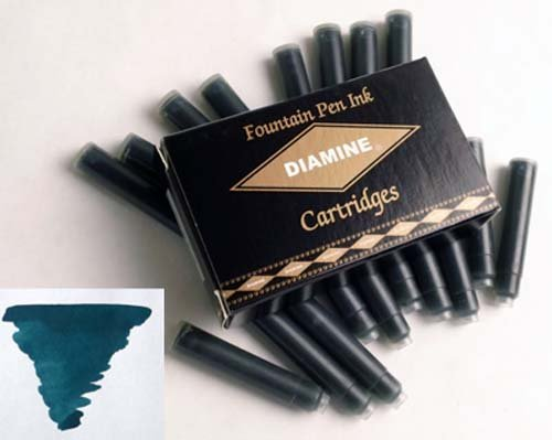 Pk/18 DIAMINE Fountain Pen Ink Cartridges, TEAL