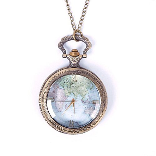 Eachbid Smart applied Vintage Retro World Map Pattern Quartz Chain Pendant Pocket Watch Necklace 02 (Watch Necklace Vintage)