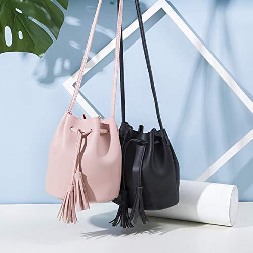 à bandoulière unique femmes Casual sac seau cuir gland PU cordon petits cadeau sac couleur unie bandoulière à Delicacydex sacs Vintage xt0qUg0Yw