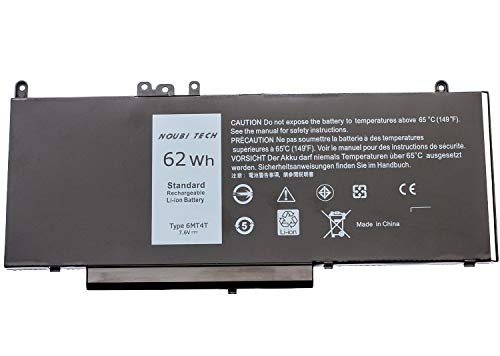 - Noubi tech 6MT4T Laptop Battery Compatible with Dell Latitude E5470 E5570 - Type 6MT4T 7.6V 62WH Li-Ion 7V69Y 6MT4T TXF9M 79VRK 07V69Y [7.6V/62WH]