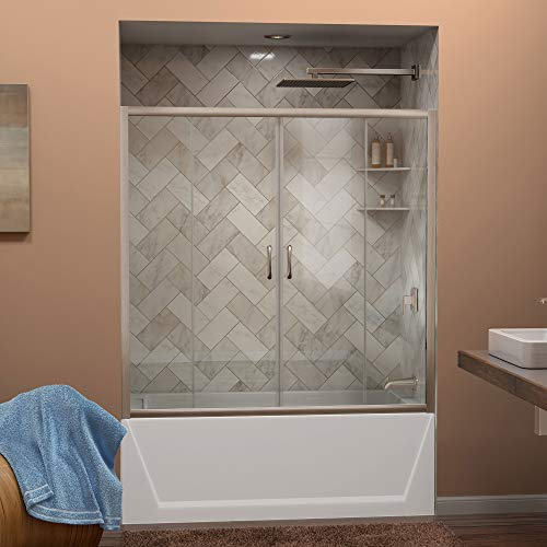 (DreamLine Visions 56-60 in. W x 58 in. H Framed Sliding Tub Door in Brushed Nickel,)