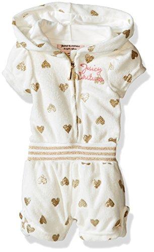 Juicy Couture  Girls' Glitter Printed  Loop Terry Romper, Cream, 5 ()