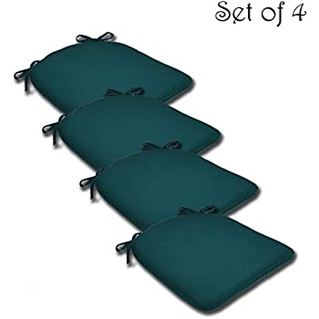 SET OF 4 16W X 17Dx 1.5H Spun Polyester Outdoor SEAT CUSHION In Solid Spruce