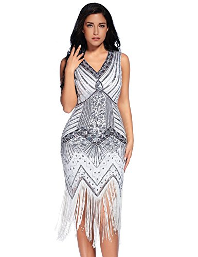 Meilun 1920s Sequined Inspired Beaded Gatsby Flapper Evening Dress Prom (XXL, White) (1920s Dresses Plus Size)