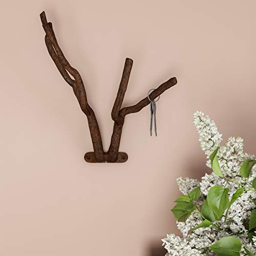 Lavish Home Decorative Tree Branch Hook-Cast Iron Shabby Chic Rustic Wall Mount Hooks for Coats, Towels, Hats, Scarves, Jewelry, and More (Brown)