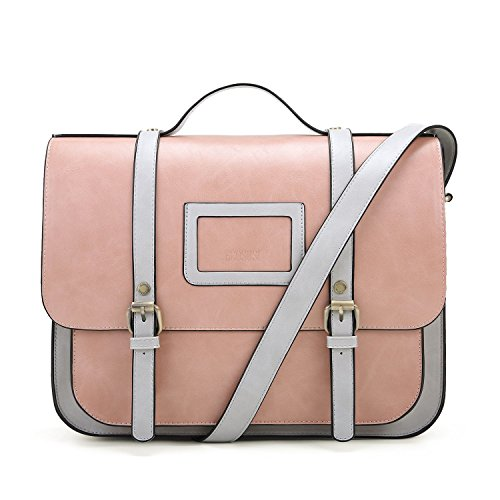 ECOSUSI Women Briefcase Vintage Crossbody Messenger Bag PU Leather Satchel Purse, (Pink Leather Briefcase)