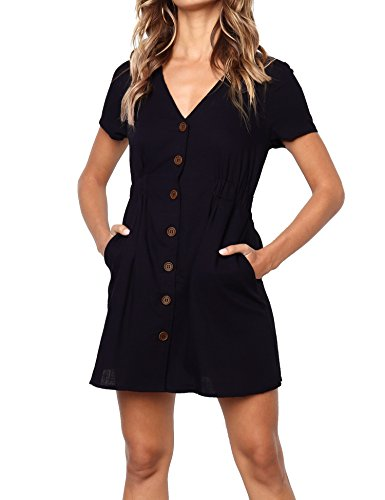 Halife Womens Summer Short Sleeve V Neck Button Down Swing Mini Dress with Pockets