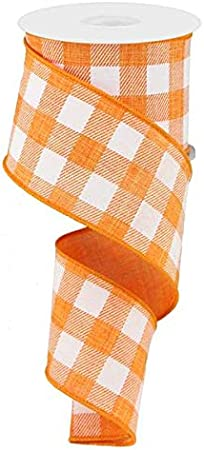 10 Yards Plaid Check Wired Edge Ribbon Light Tan, White, 1.5