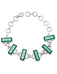 "StarGems(tm) Natural Chrysoprase and Peridot 925 Sterling Silver Bracelet 6 1/4-8"""