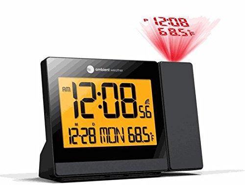 Ambient Weather RC-8419 ClearView Radio Controlled Projection Alarm Clock with Indoor Temperature