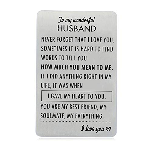 Anniversary Gifts for Husband, Engraved Wallet Card Insert Birthday Wedding Gift for Men from Wife, Stainless Steel
