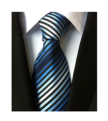 Background Black Necktie (Men's Stripe Blue Black White Silk Tie Formal Soft Necktie Best Fathers day Gift)