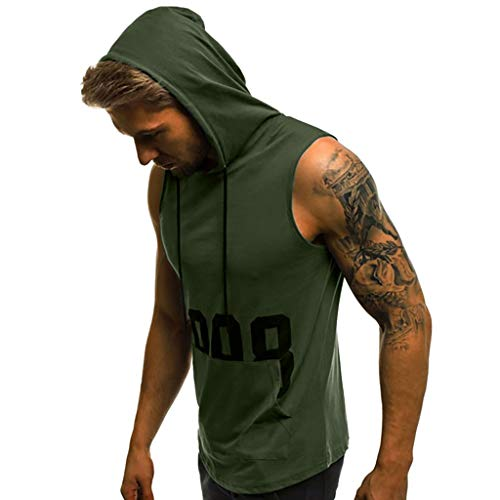 HTHJSCO Mens Workout Hooded Tank Tops Sleeveless Gym Hoodies Fitness Muscle Print Bodybuilding Pocket Blouse (XXL, Army ()