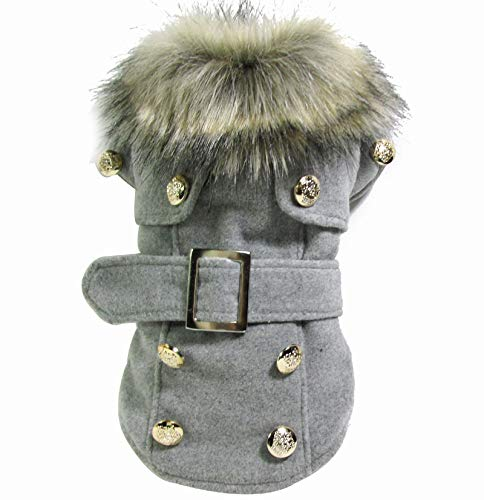 Light grey S Light grey S HUAIX petsuppliesmisc Dog clothes autumn and winter European and American style woolen quilted coat coat warm clothes Teddy pet coat (color   Light grey, Size   S)
