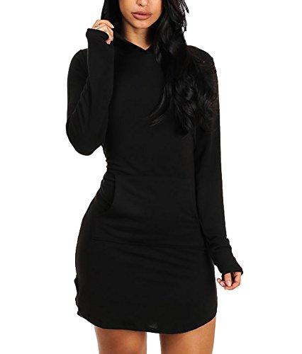 Buy casual hoodie sweatshirt dress - 1